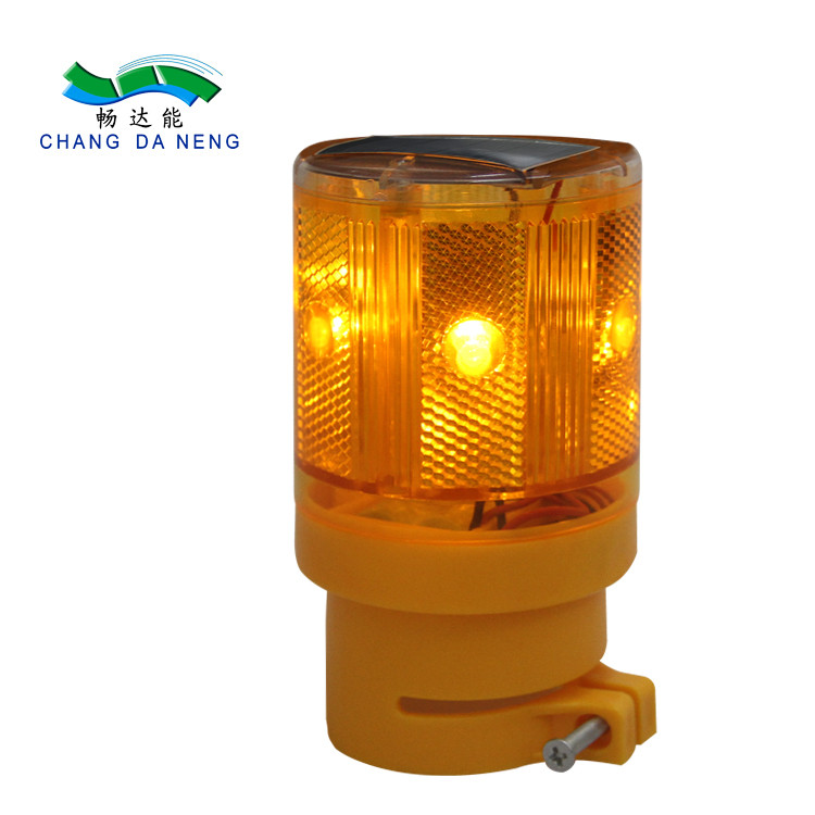 Yellow Waterproof PC Solar Strobe Light LED Traffic Barricade Warning light